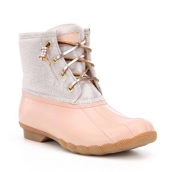 Sperry Salt Water Duck Boots Pink Rose
